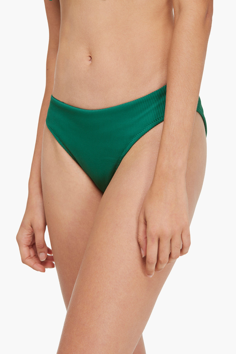 Ribbed Front Knotted Triangle Bikini Bottom