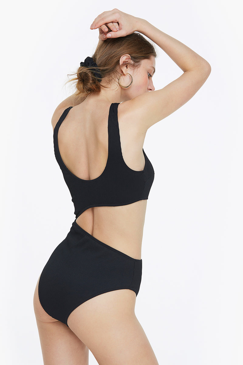 Black Ribbed Side Cutout One Piece Swimsuit