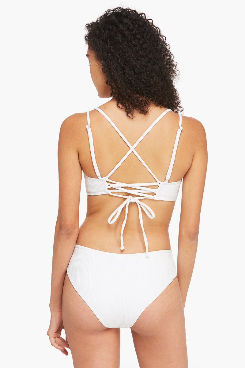 Double Strapped Bralatte Bikini Set-White