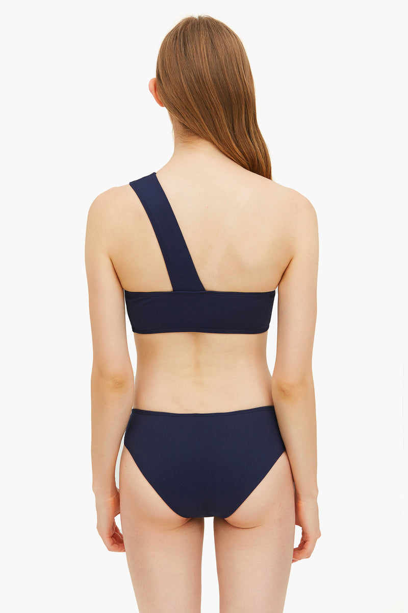 Navy Blue Elegant One-shoulder Bikini Set