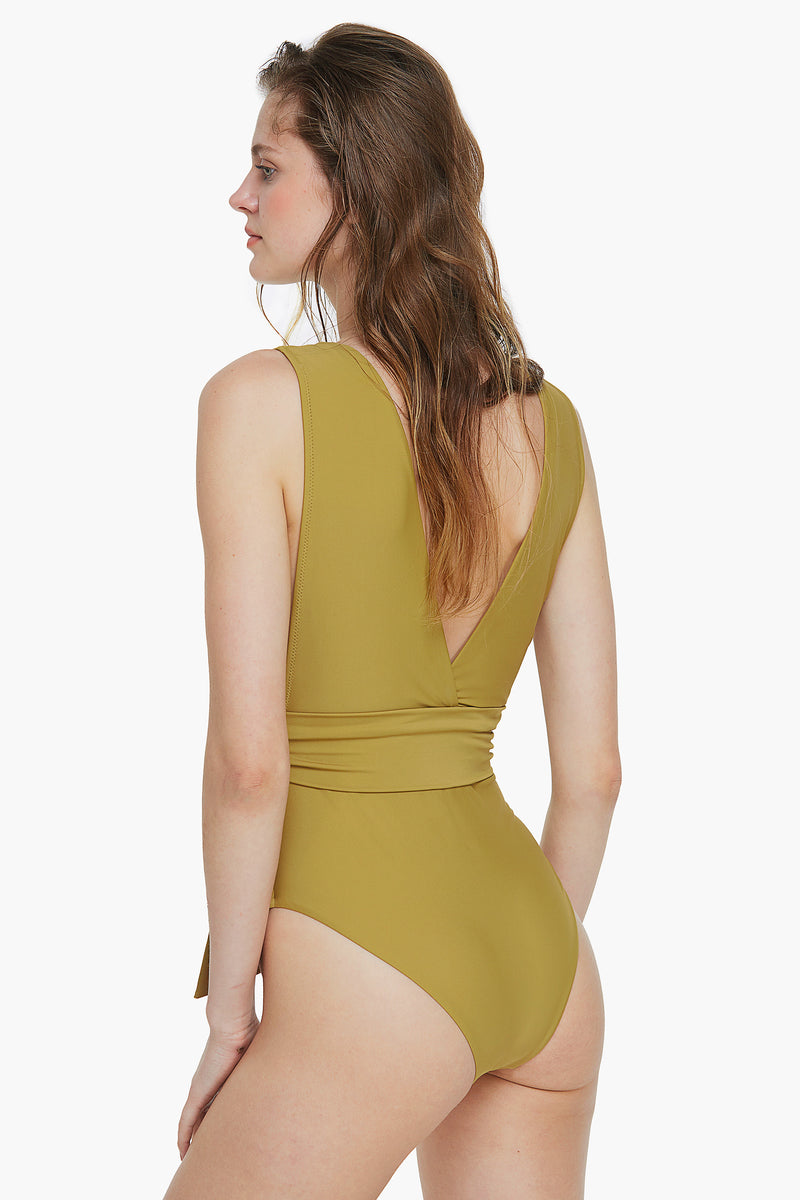 Belted Mustard One Piece Swimsuit