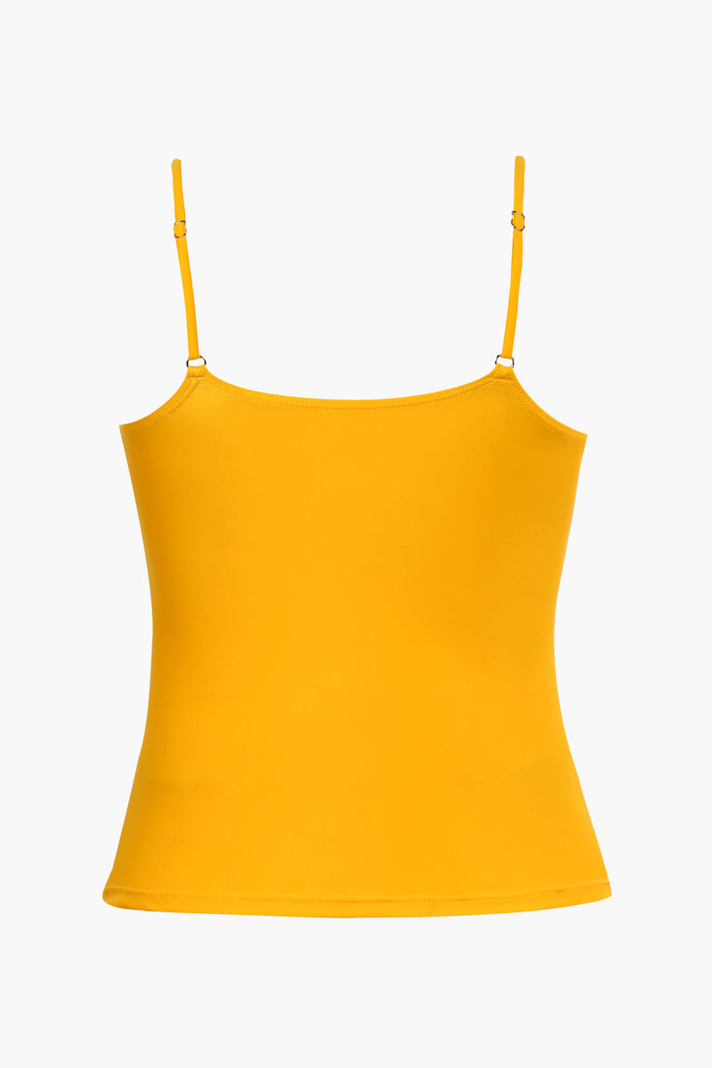 <Summer Haze>Yellow Ruched Tankini Top