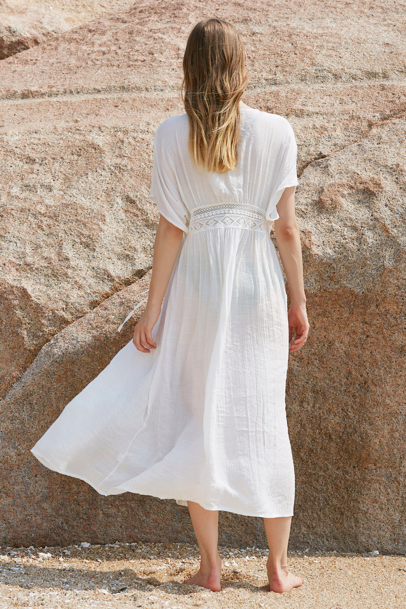 Long Self-Tie Crocheting Maxi Dress