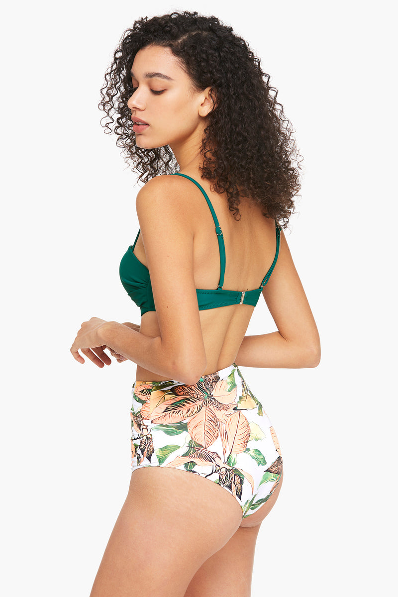 Deep Green and Floral Molded Cup Bikini Set