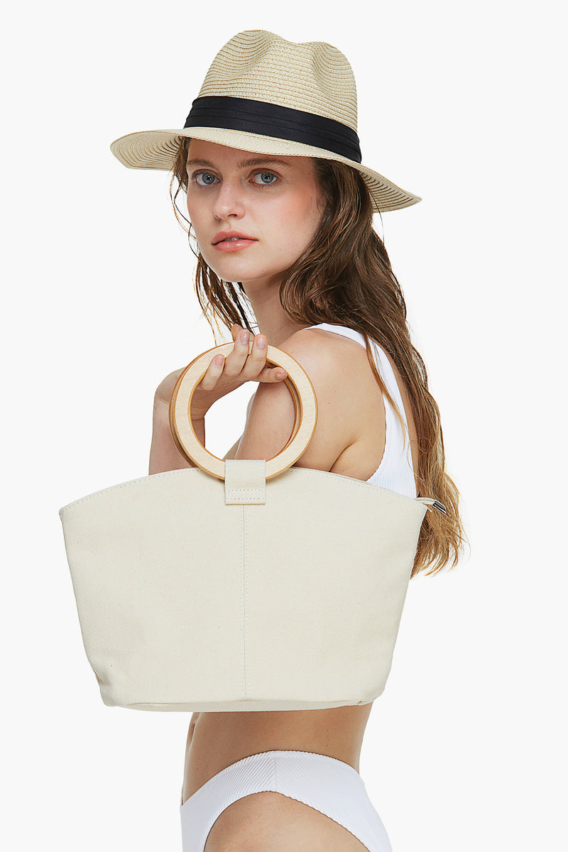 Round Handle Beach Bag