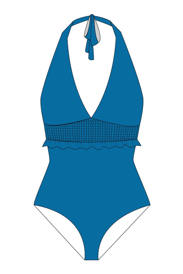 Blue Ruched Halterneck One Piece