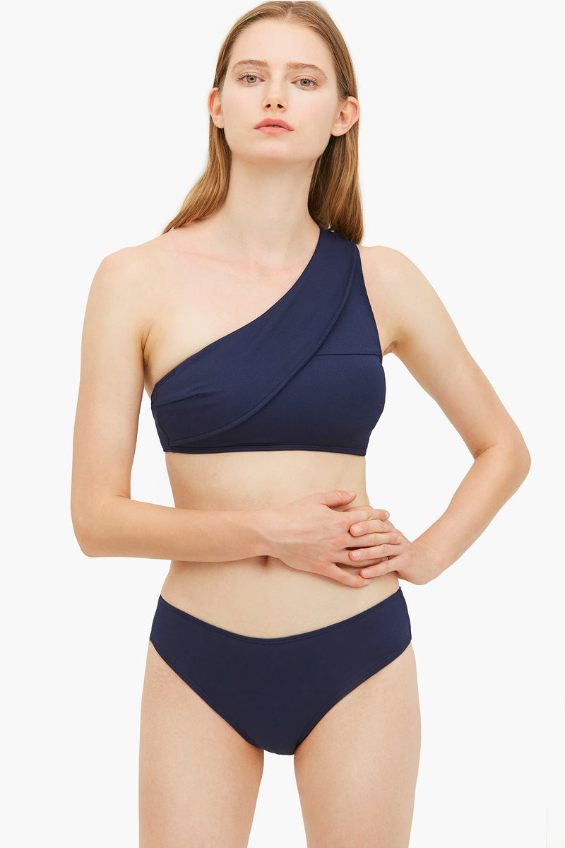 Navy Blue Elegant One-shoulder Bikini Bottom
