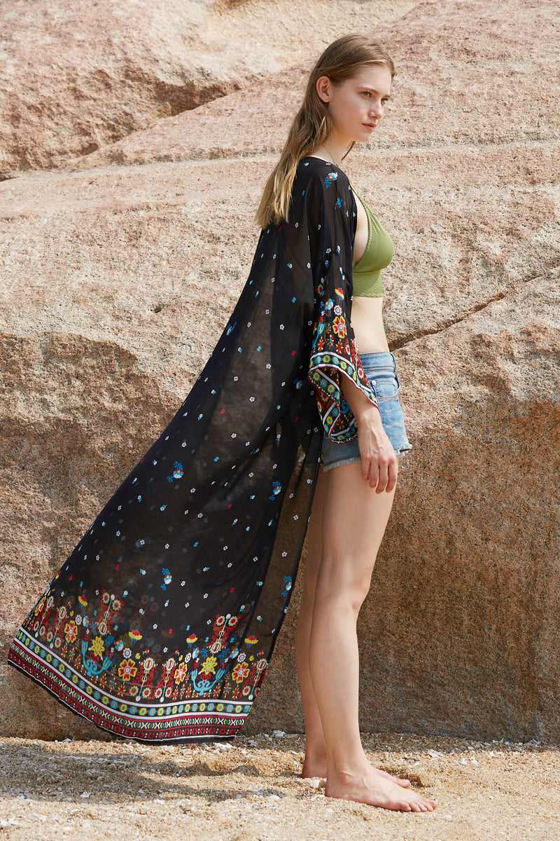 Long Black Floral Open Front Beach Cover up