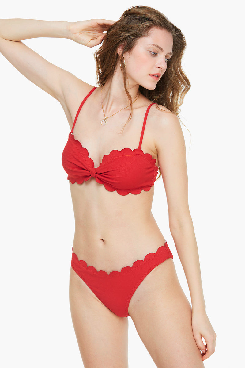 Cherry-red Scallop Bandeau Bikini Set