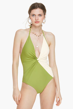 Knotted Two Tone Halter One-piece Swimsuit
