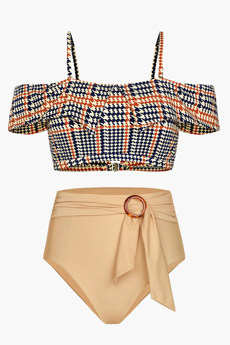 Colorblock Houndstooth Printed Bikini Bottom
