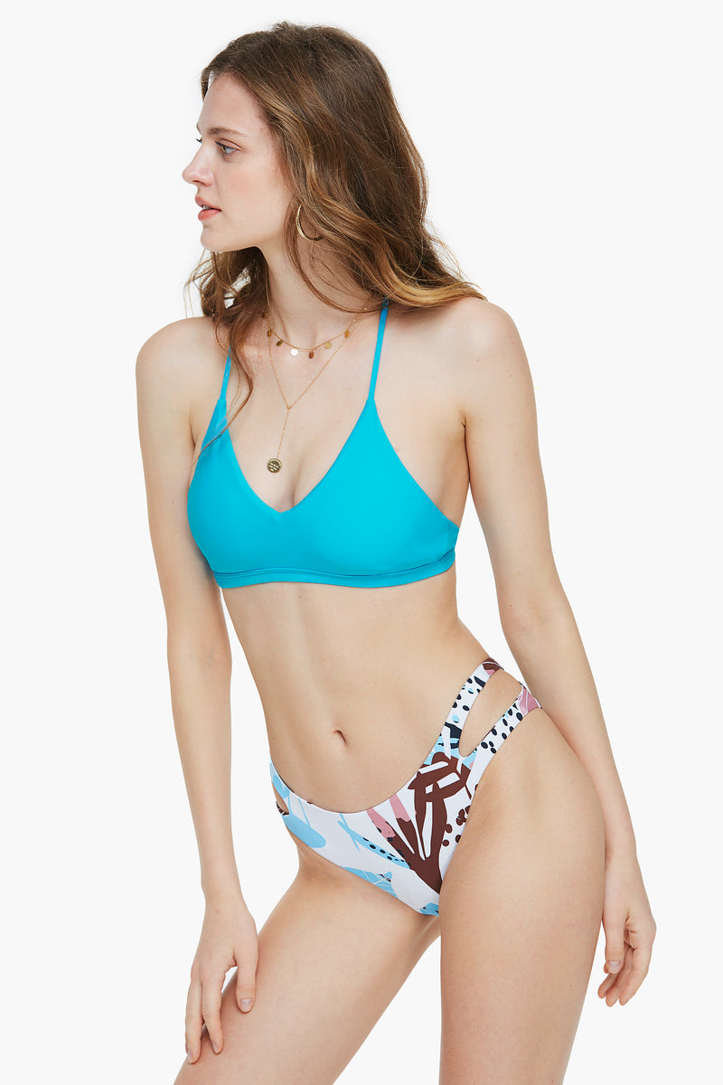 Summer Dream Blue and Floral Side Cutout Bikini Set