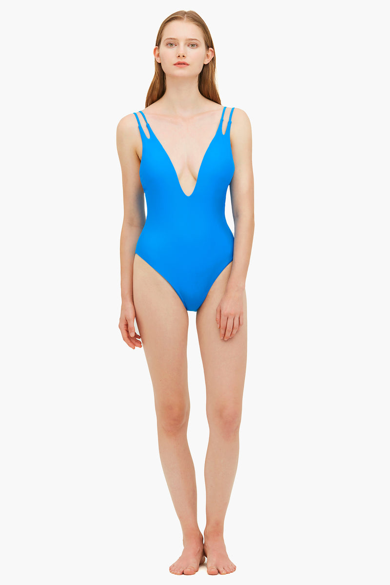 Double Strapped Blue One-piece Swimsuit