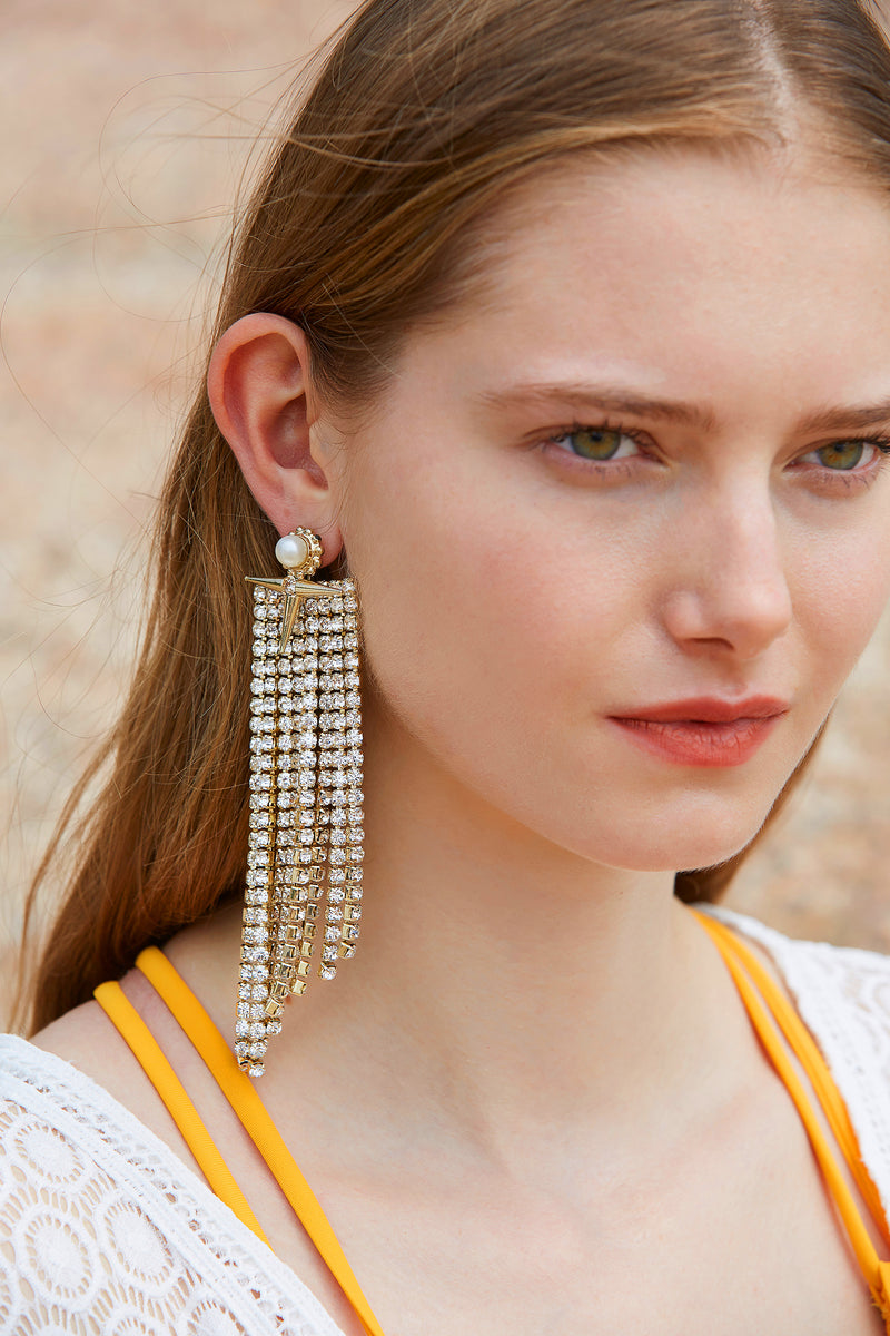 Asymmetrical Cross and Gold Chain Dangle Earrings