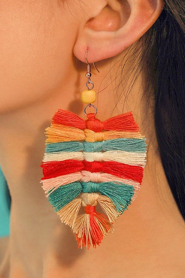 Bohemian Leaf Shaped and Tassel Earing
