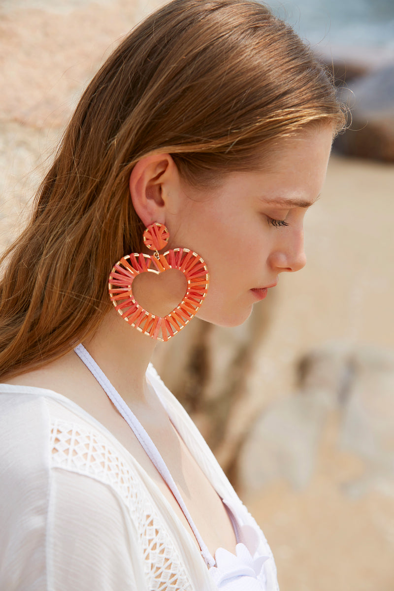 Pink Rattan Hoops Heart Dangle Earrings