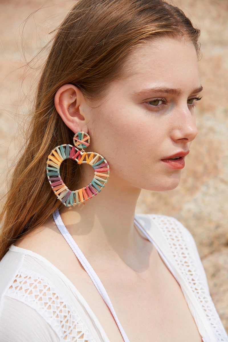 Colorful Rattan Hoops Heart Dangle Earrings