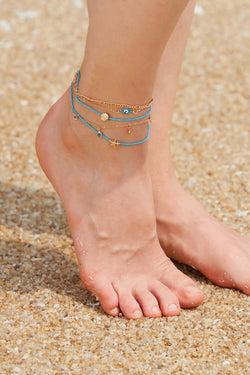 Layered Blue and Gold Anklet Set