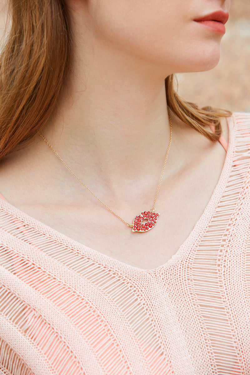 Red Gold-tone Lip Necklace
