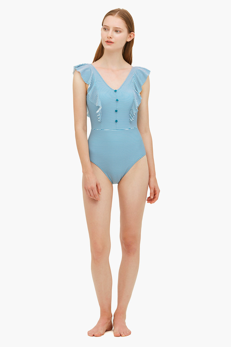 Striped one-piece Swimsuit with Ruffle Hem
