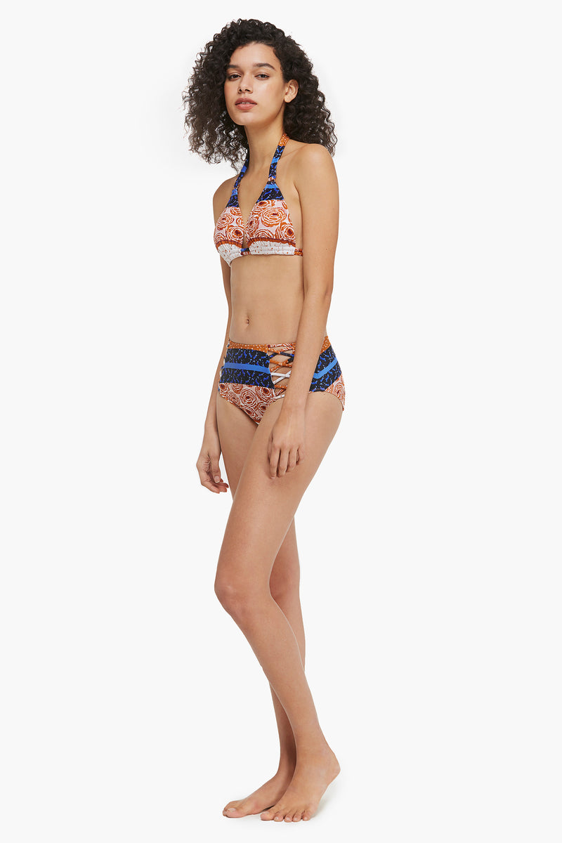 Abstract Print Triangle Bikini Top