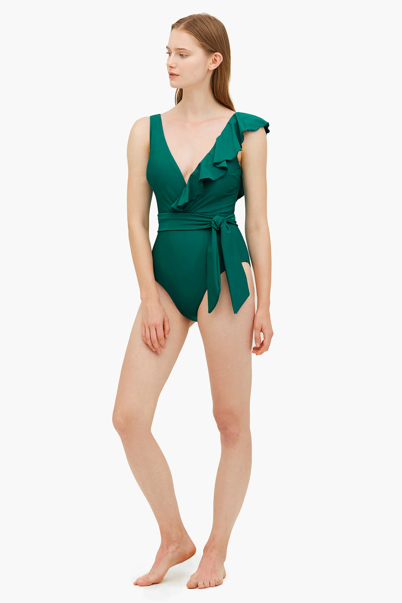 Asymmetrical Ruffled One-piece Swimsuit