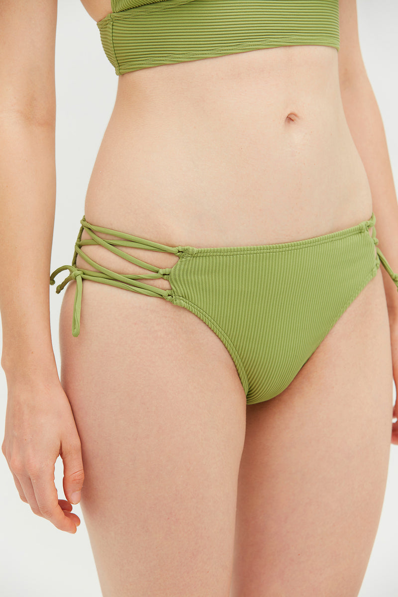 Ribbed Green Bralette Side Tie Bikini Set