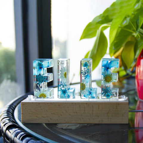 Dried Flowers Resin Name Letter Light