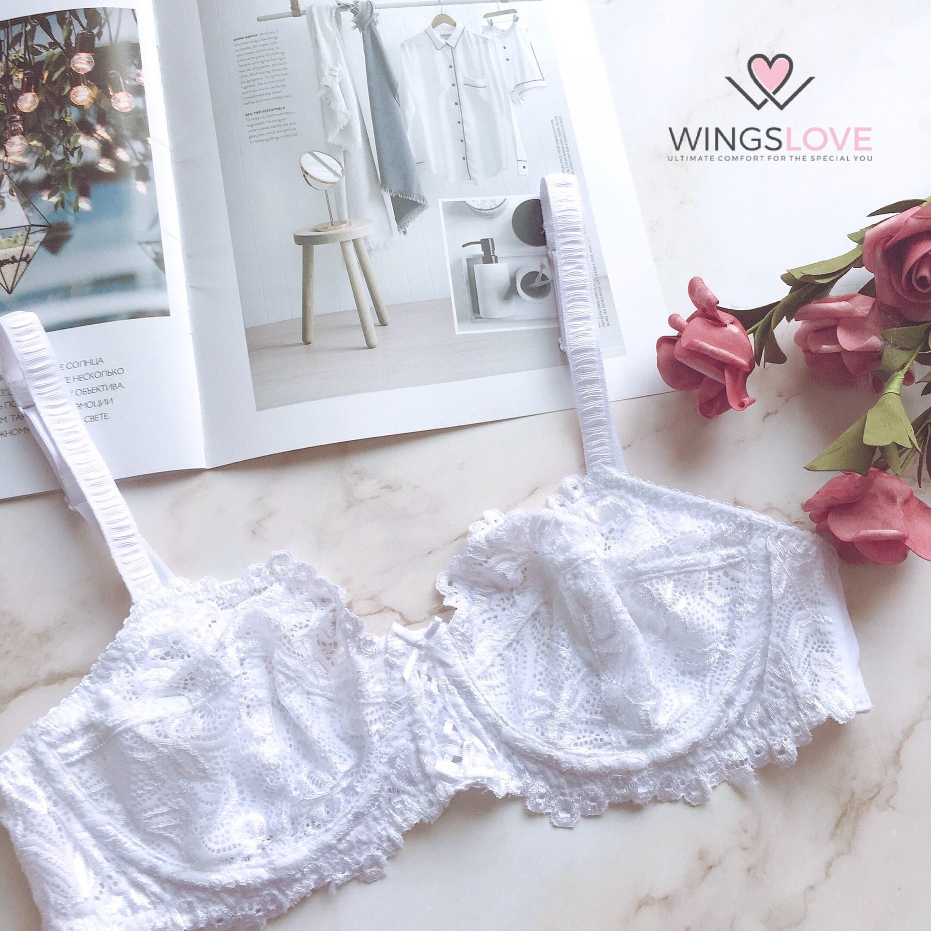 WingsLove Full Coverage Non-Padded Lace Bra Soft Cup