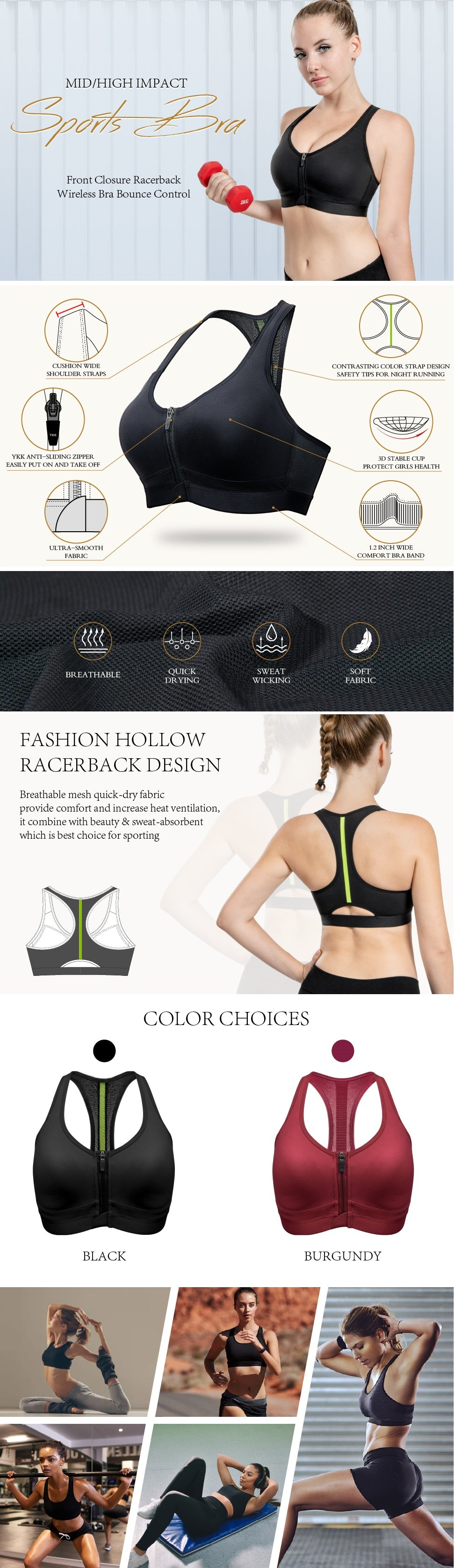 Womens Front Closure Zip Sports Bra High Impact Racerback Wirefre Bra