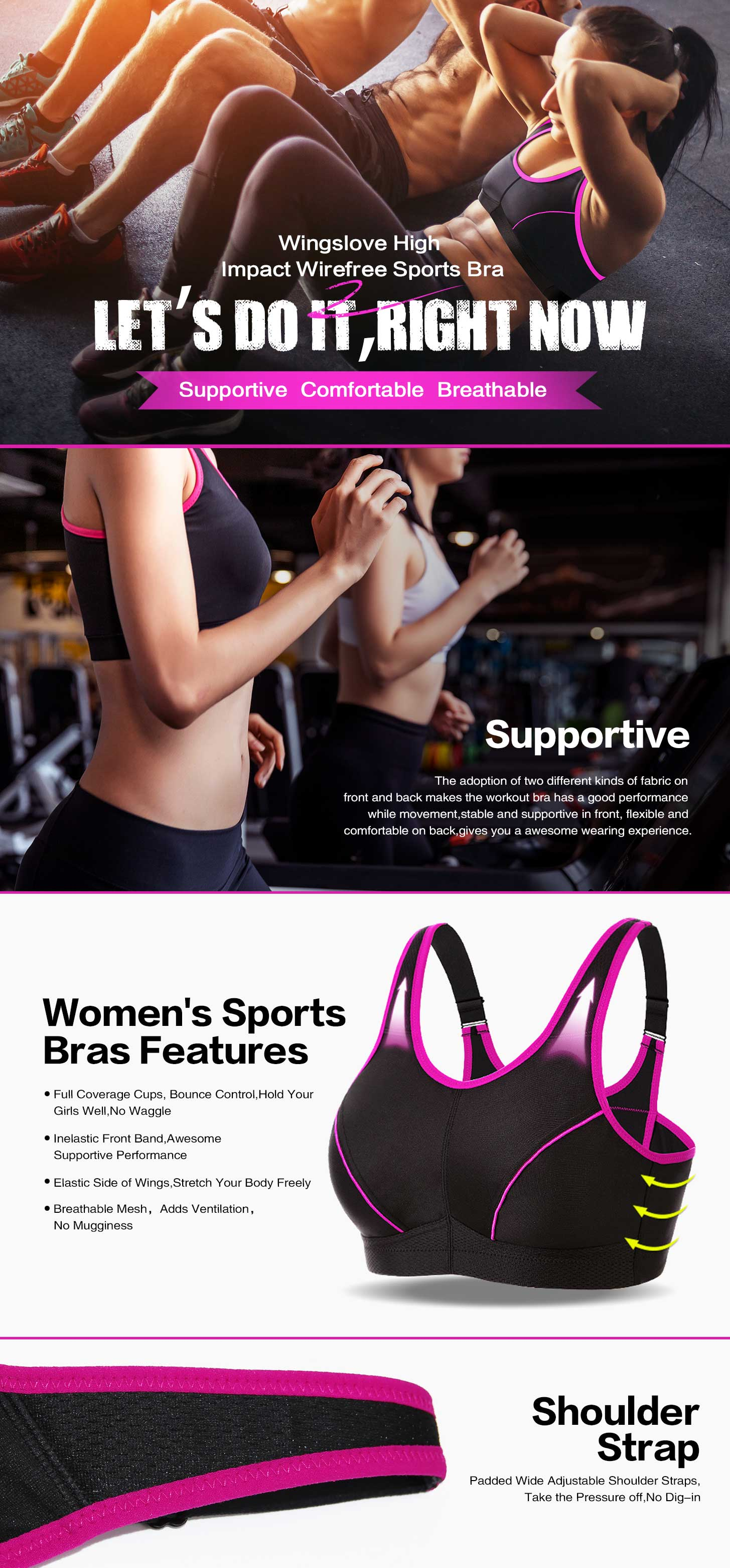 High Impact Sports Bra Full Coverage Non Padded Wirefree Bra Gym Running Yoga
