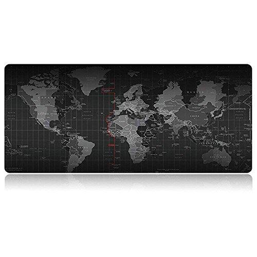 Gaming Mauspad XXL 900x400 - Mousepad Weltkarte | World Map Tischunterlage für Computer, PC und Laptop | 3D Design Hochwertige Unterlage in Schwarz Rutschfest Wasserdicht Schreibtischunterlage Bayram