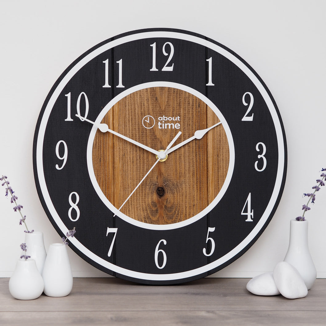Medium Wooden Clock in Black - Ask about personalisation