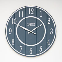 Load image into Gallery viewer, Large Wooden Wall Clock in Slate Grey