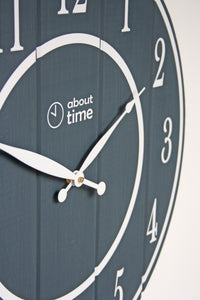 Large Wooden Wall Clock in Slate Grey