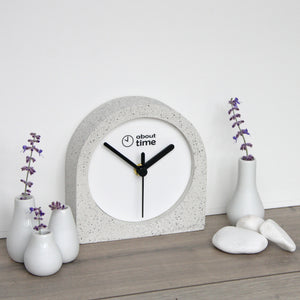 Jesmonite Carriage Clock in Silver-Grey Granite