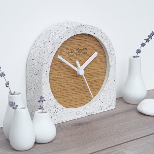 Jesmonite Carriage Clock in Silver-Grey Granite with Wooden Face