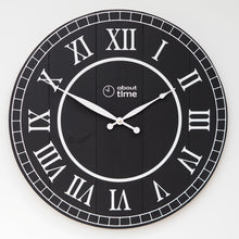 Load image into Gallery viewer, Large Wooden Wall Clock in Black