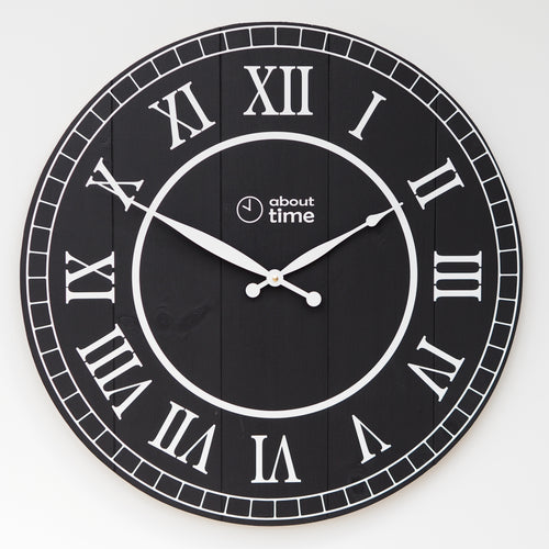 Large Wooden Wall Clock in Black