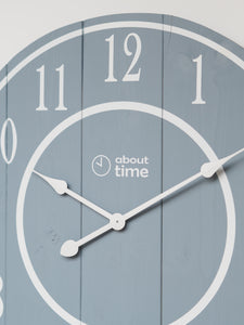 Large Wooden Wall Clock in Blue-Grey