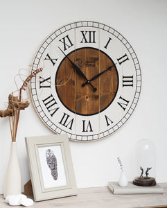 Large Wooden Wall Clock in Cream