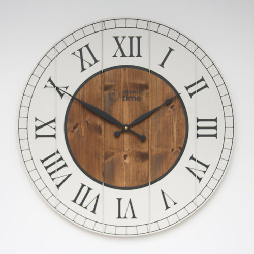 Large Wooden Wall Clock in Cream - Ask about personalisation