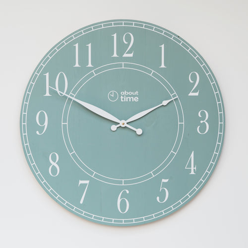 Large Wooden Wall Clock in Sage - Ask about personalisation