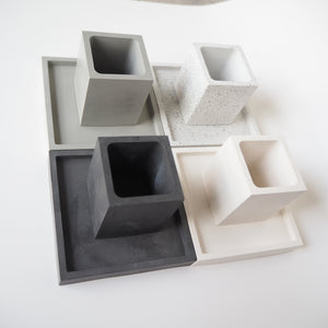 Square Concrete Mini Pot & Tray