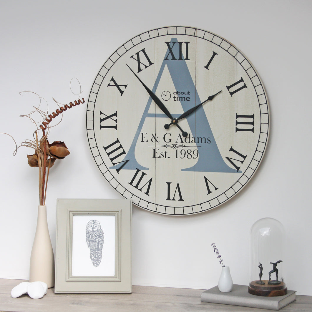 Large Wooden Personalised Wall Clock