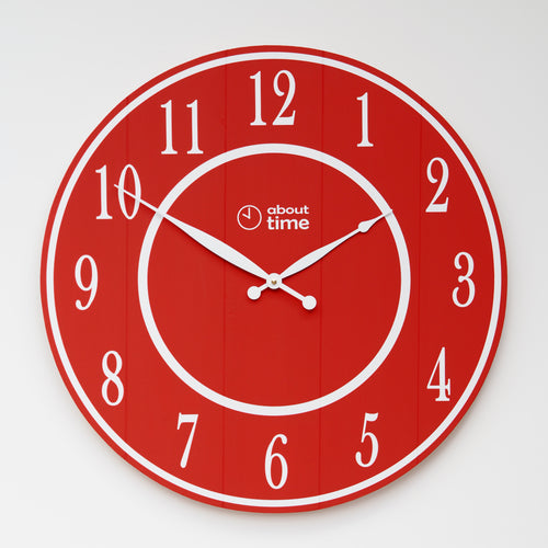 Large Wooden Wall Clock in Red - Ask about personalisation