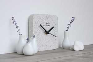 Jesmonite Square Clock in Silver-Grey Granite