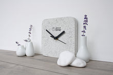 Load image into Gallery viewer, Jesmonite Square Clock in Silver-Grey Granite