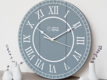 Load image into Gallery viewer, Medium Wooden Clock in Blue-Grey