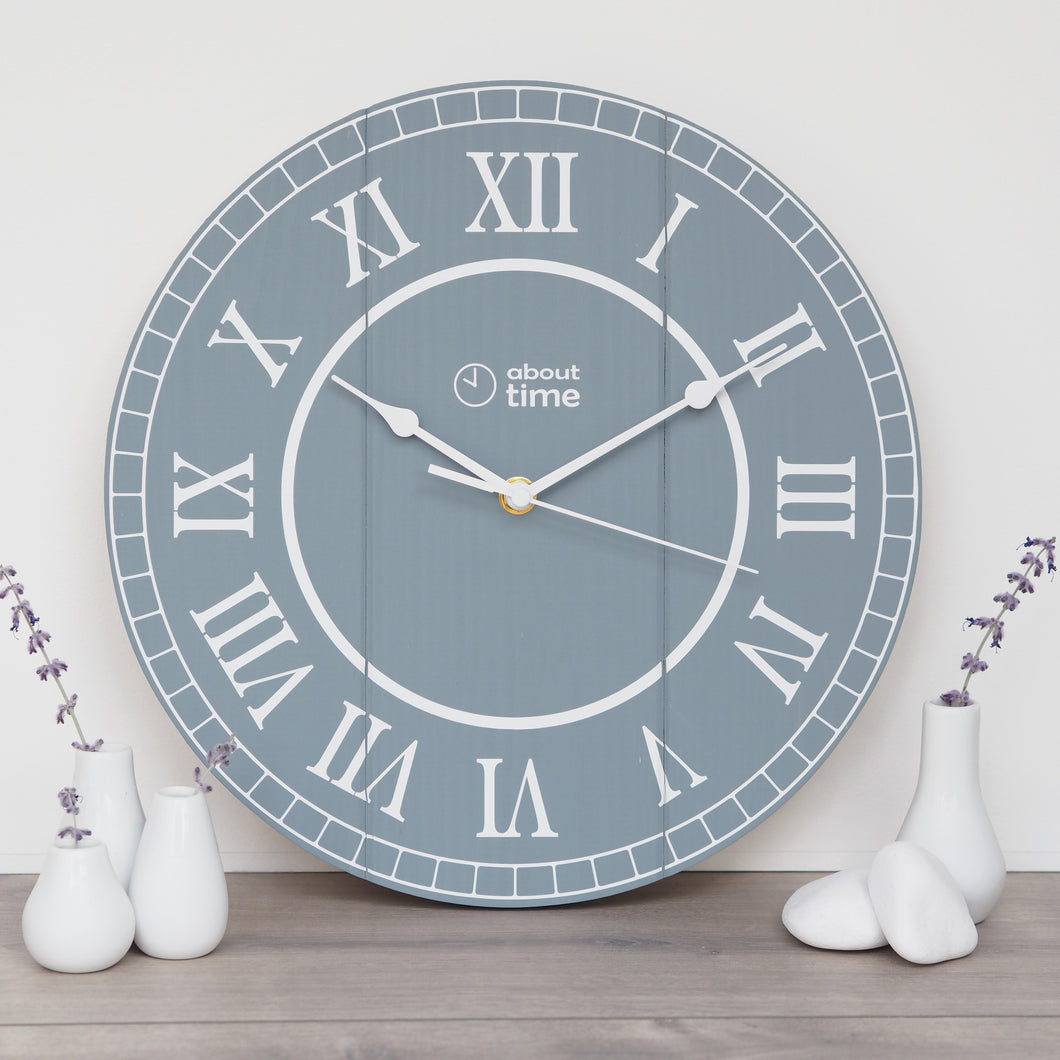 Medium Wooden Clock in Blue-Grey